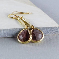 Gold Faceted Glass Peardrop Earrings