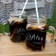 Personalised Mr And Mrs mason jars