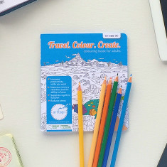 Travellers on the go colouring book with Staedtler pencil pack
