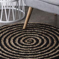 Braided jute rug-spiral black/natural