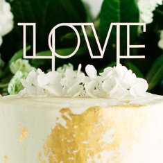 Love cake topper in white