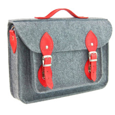 Felt bag for your laptop with red leather