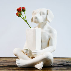Ceramic dogman with vase