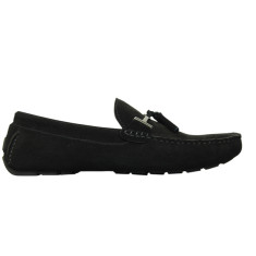 Loafers buckle black men's shoe