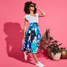 Arianne cotton a-line tie waist midi skirt in aqua floral print