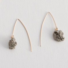 Pyrite Cubic Cluster Dropper Earrings