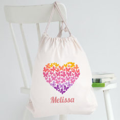 Personalised Butterfly Heart Library Bag