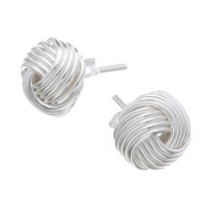 Sterling silver knotted mesh stud earrings