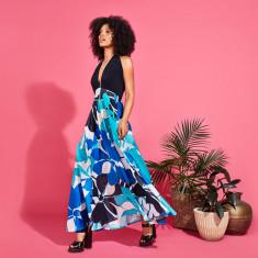 Varela convertible stretch top maxi dress in aqua floral print