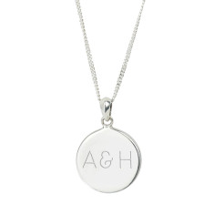 Monogram Personalised Sterling Silver Disc Necklace