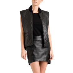 Women's black leather quilted lambskin vest gilet