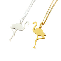 Tiny flamingo necklace silver