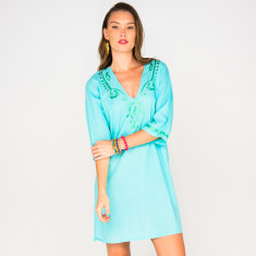 Elena blue dress with lime embroidery