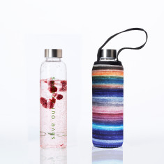 Glass is greener bottle 570ml with carry cover in sweet print