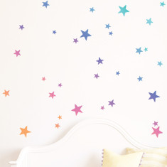 Rainbow Gradient Stars Wall Stickers