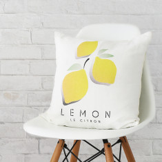 Le Citron linen print cushion