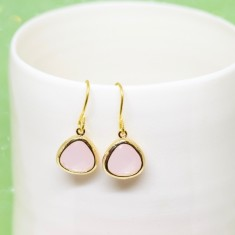 Rosewater pink drop earrings