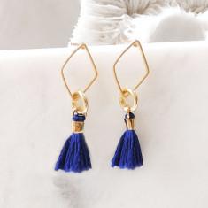 Tiny geometric cobalt blue tassel earrings