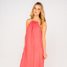 Verity plain coral dress