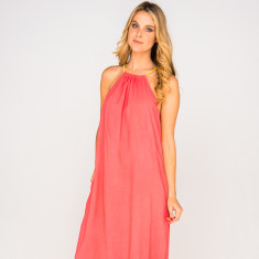 Verity plain coral dress