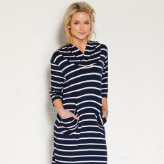 Balmoral dress in indigo/cream