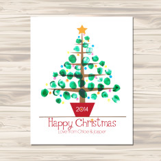 Finger painted Christmas tree DIY downloadable print