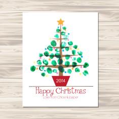 Finger painted Christmas tree DIY downloadable print