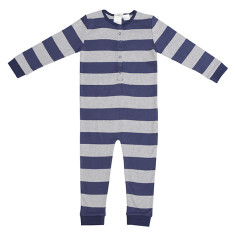 Navy and Grey Striped Onesie