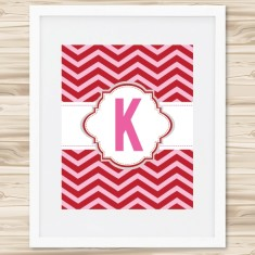 Chevron personalised initial print (various colours)