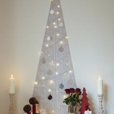 Courchevel Christmas tree wall decal with lights & decorations