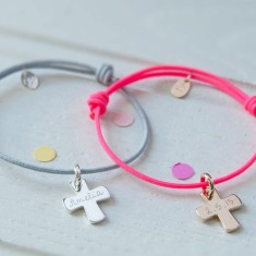 Personalised christening cross bracelet