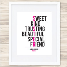 Sister personalised typographic print