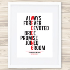 Wedding typographic print