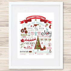 Our family Christmas personalised print