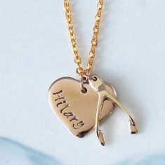 Personalised Lucky 9ct gold necklace