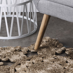 Lily Grey-Decorative round rug natural silver