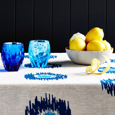 Ikat spot linen tablecloth in blue