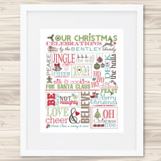 Personalised family Christmas chart print