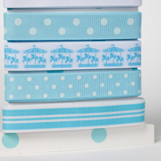 Ribbon Card - Baby Blue Carousel