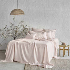 Pure linen quilt cover set in peony pink
