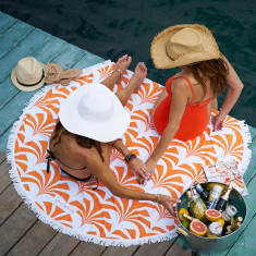 Miami Palms Large Luxury Round Beach Towel
