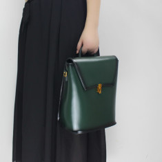 Mini Leather backpack/shoulder bag in green