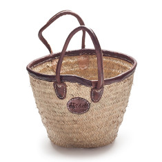 Medium bucket basket with leather trim