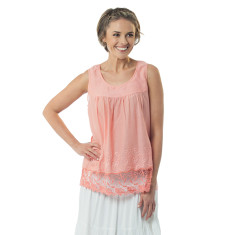Nesa top in strawberry ice, aquamarine & white