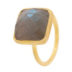 Square Cupcake Ring With Labradorite