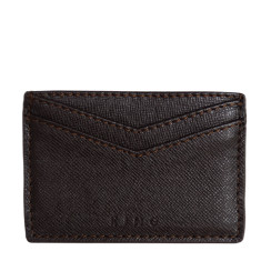 King card holder in dark brown leather