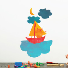 Cat Sailing Removable Wall Sticker