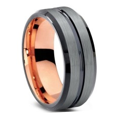 Custom & Personalised Charcoal Grooved and Rose Gold Tungsten Ring