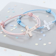 Personalised flat cross bracelet for christening or communion