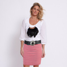 Red stripe cotton jersey skirt